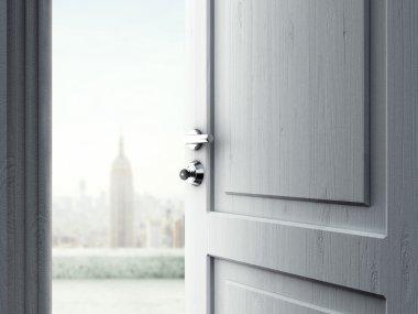 Opened door in city