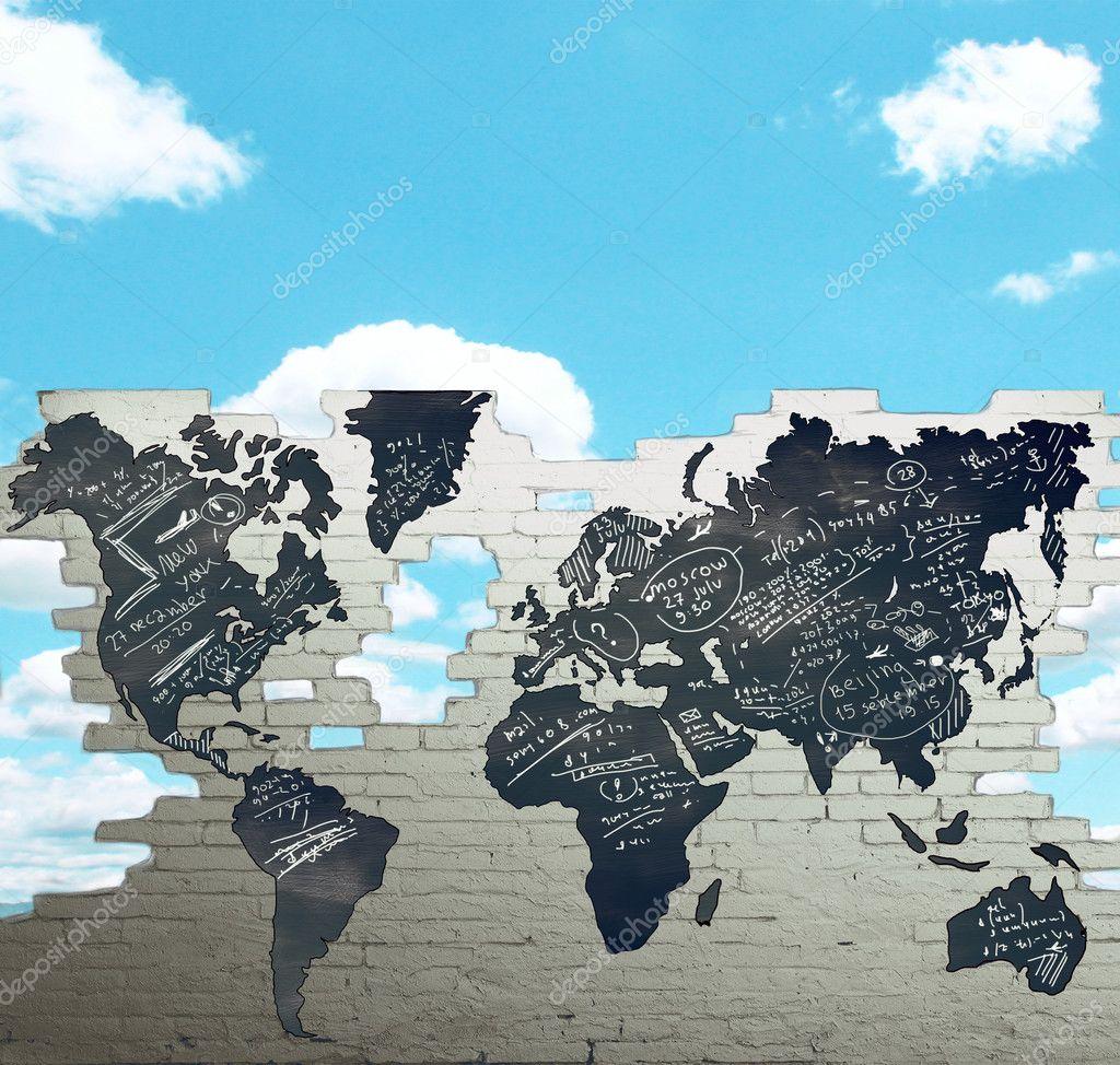 Drawing world map stock photo peshkova 32873461 drawing world map on brick wall photo by peshkova gumiabroncs Choice Image
