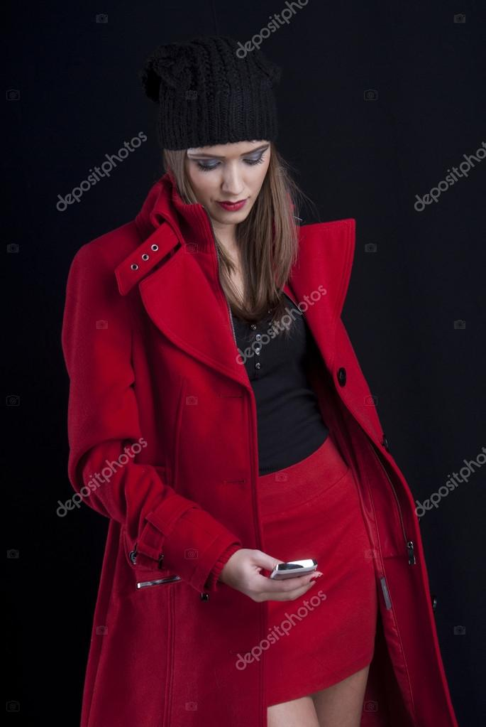 Con Mujer Abrigo Con Rojo Abrigo Mujer yaqWwfgHHc