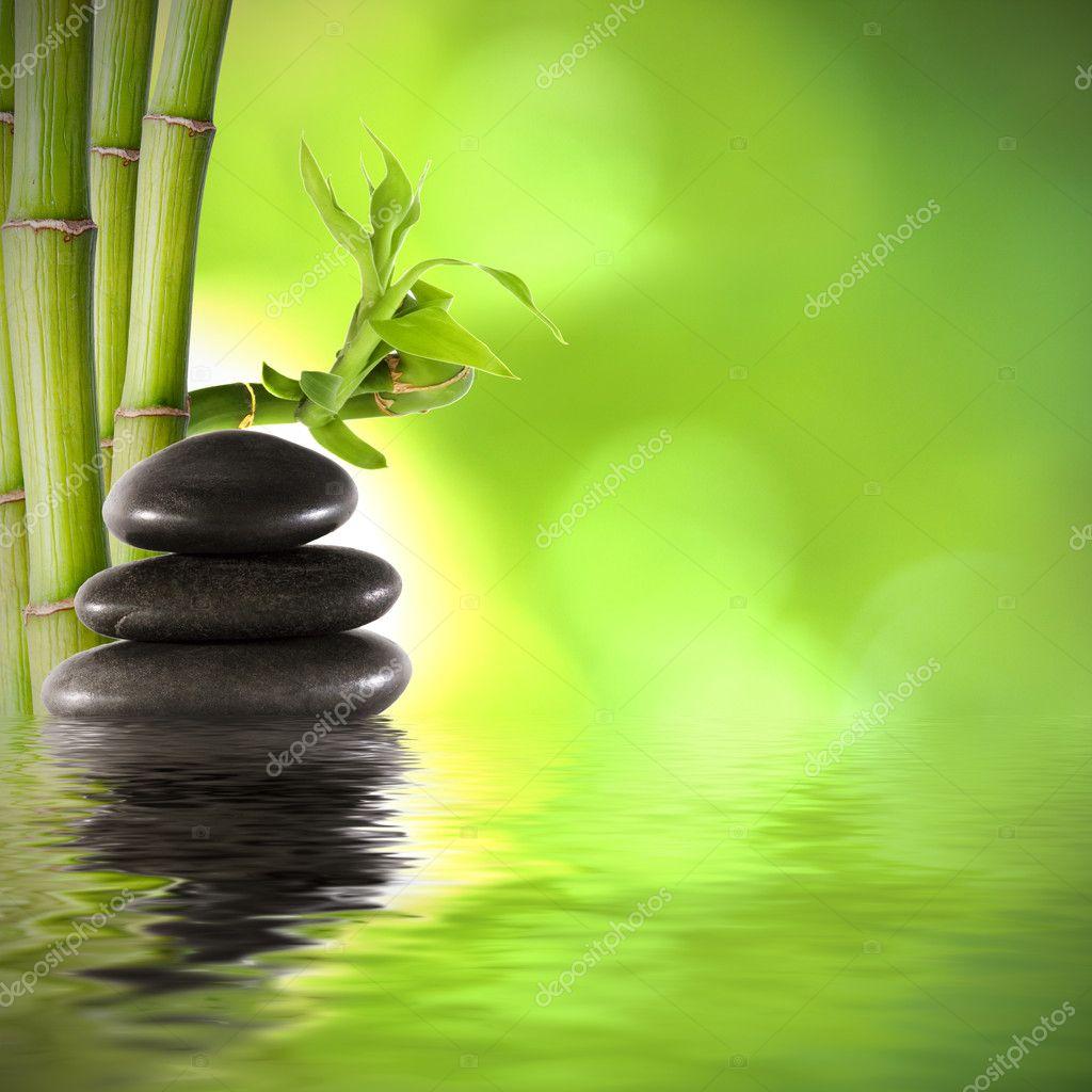 Decoration De Spa tout troncs de bambou, décoration de spa de fonds — photographie carballo