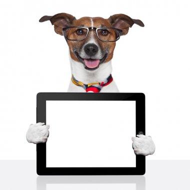 "Картина, постер, плакат, фотообои ""Бизнес собака tablet pc ebook сенсорная панель"", артикул 14094293"