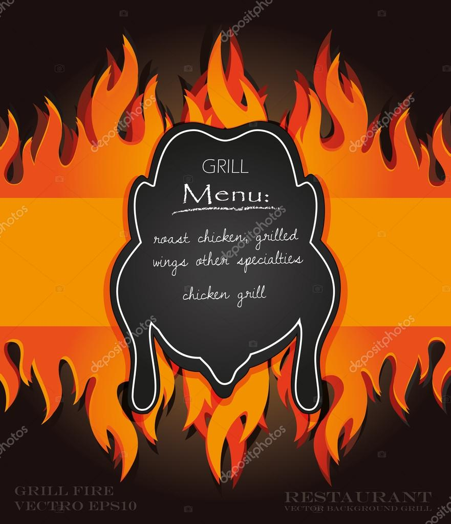 Vector blackboard grill menu card chicken fire board