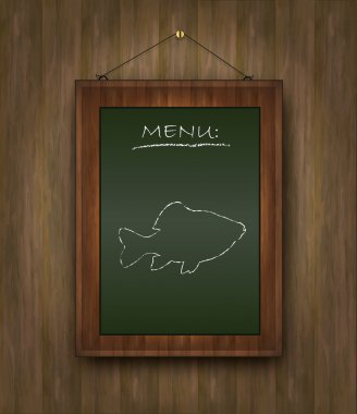 Raster blackboard wood menu fish green
