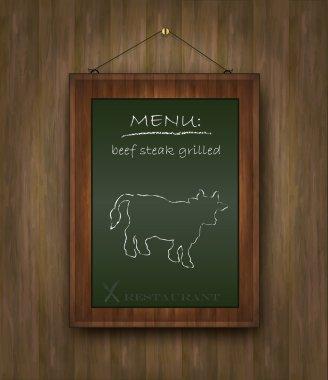 Blackboard wood menu beef cow green