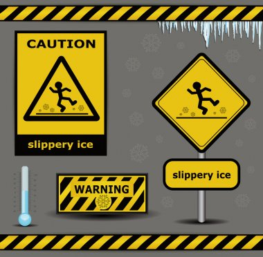 Sign caution slippery ice warning collection clip art vector