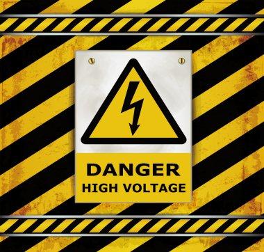 Sign caution blackboard danger high voltage stock vector