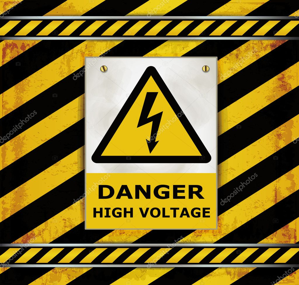 Sign caution blackboard danger high voltage