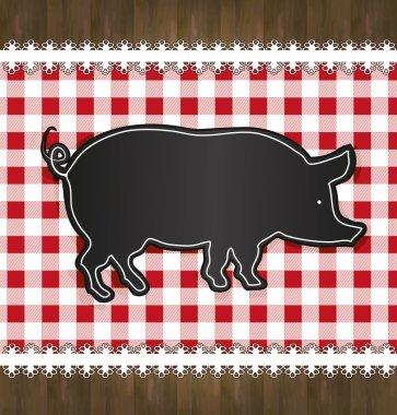 Raster blackboard menu tablecloth lace pig