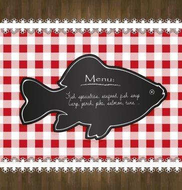 Vector blackboard menu tablecloth lace fish