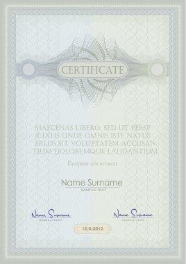 vector Certificate guilloche blue green vertical A4