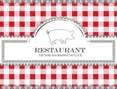 Pig blackboard lace menu restaurant ,cloth pattern vector