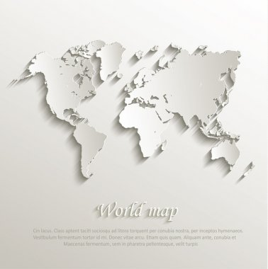 Vector World map card paper 3D nature