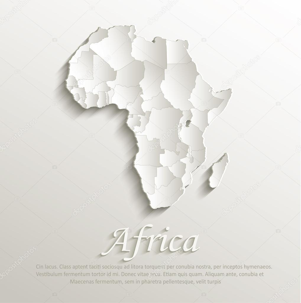 Vector Africa political natural map paper 3D individual states puzzle