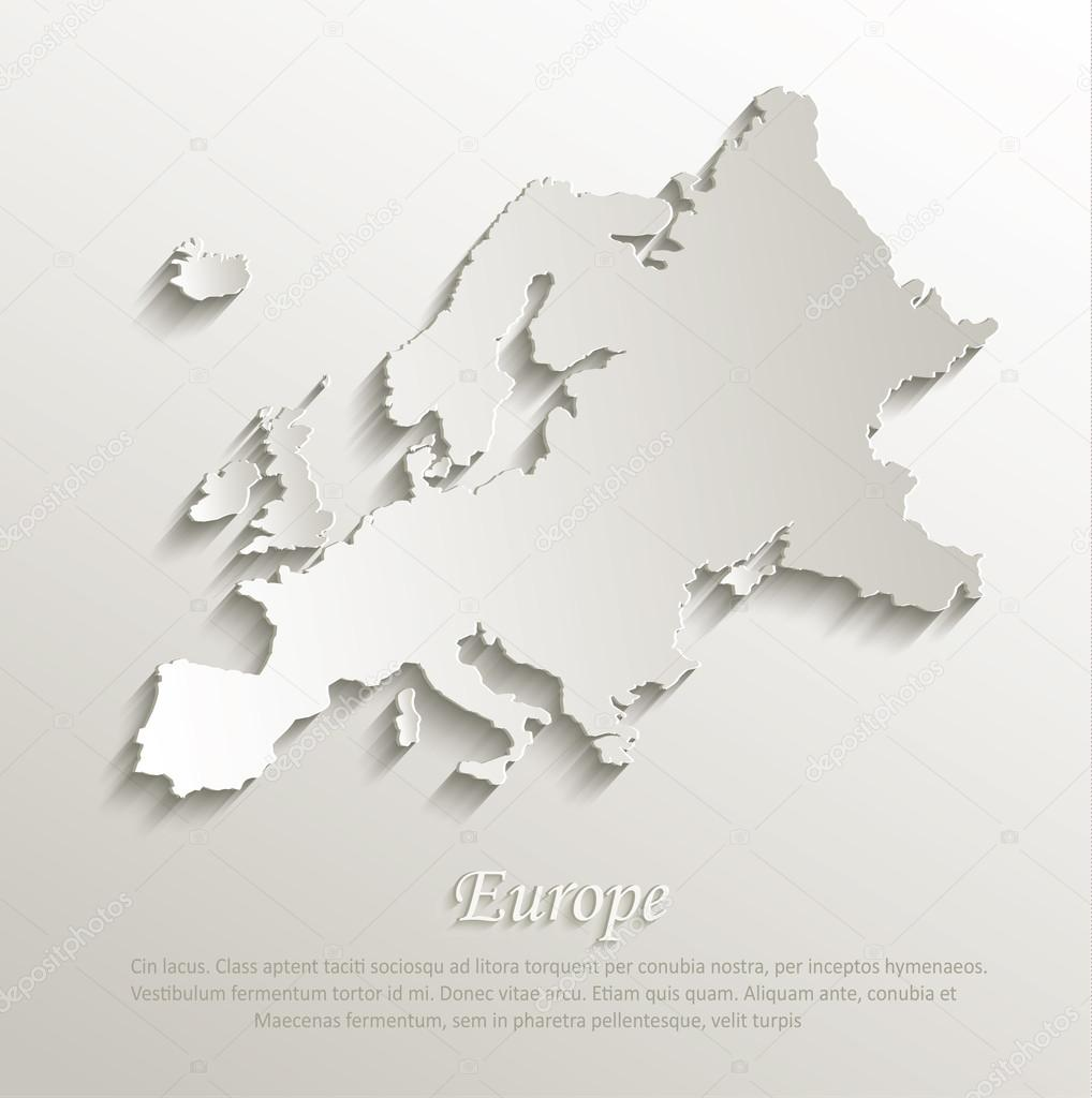 Vector papier de carte europe carte 3d naturel — Image vectorielle