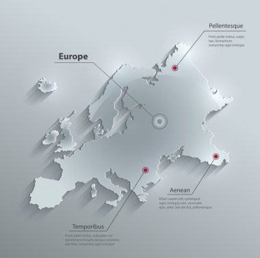 Vector Europe map glass card paper 3D