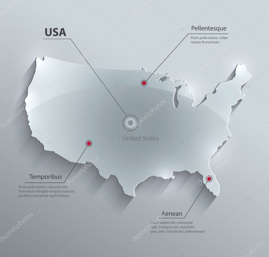 Vector USA map glass card paper 3D america united states Stock