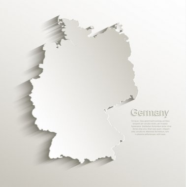 Germany map card paper 3D natural vector