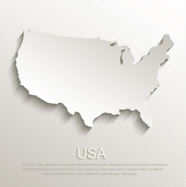 USA map card paper 3D natural vector