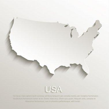 USA map card paper 3D natural vector stock vector