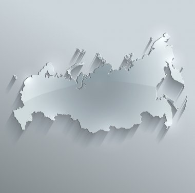 Russia map glass card paper 3D raster