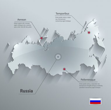 Russia map glass card paper 3D vector