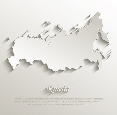 Russia map card paper 3D natural vector