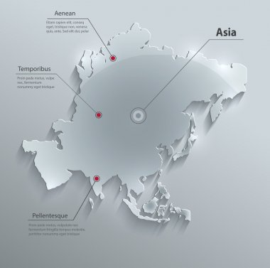 Asia map glass card paper 3D vector