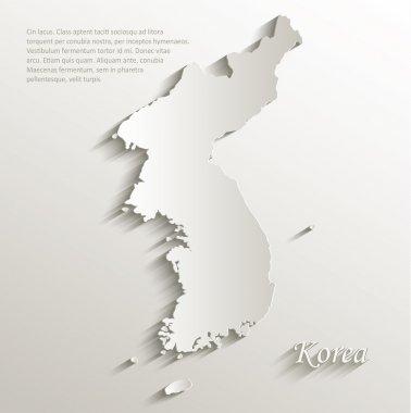 Korea map card paper 3D natural vector