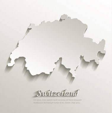 Switzerland map card paper 3D natural vector
