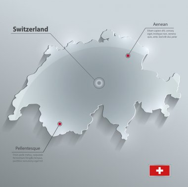 Switzerland map glass card paper 3D vector flag