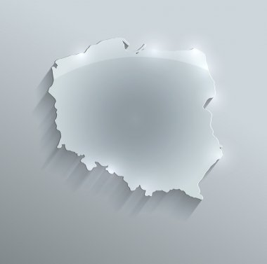 Poland map glass card paper 3D raster