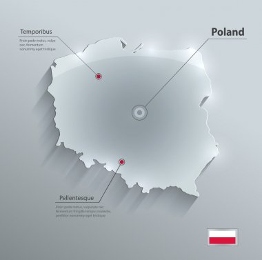 Poland map glass card paper 3D vector