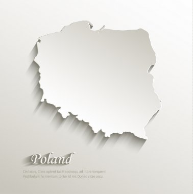 Poland map card paper 3D natural vector