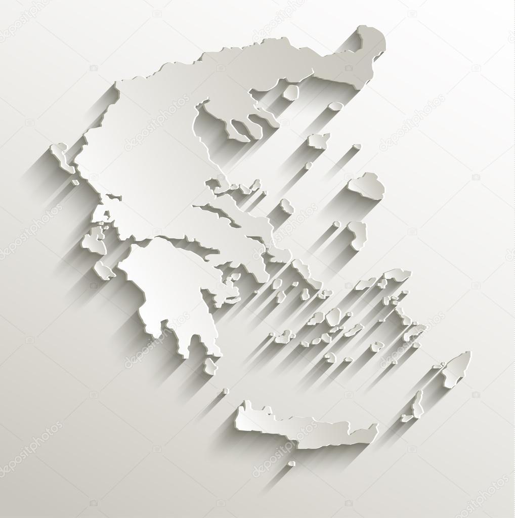 Greece Map Card Paper 3d Natural Raster Blank Stock Photo C Mondi