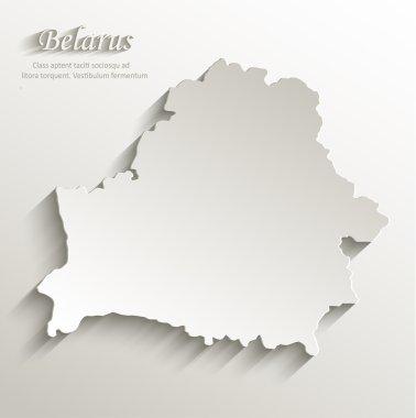 Belarus map card paper 3D natural vector