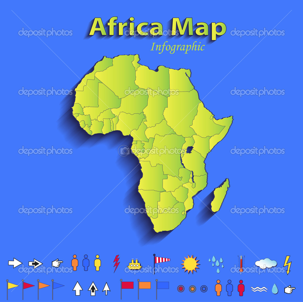 Africa map infographic political map individual states blue green