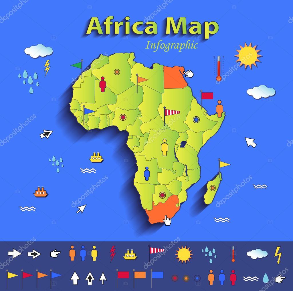 Africa mapa infogrfico mapa poltico los estados individuales africa mapa infogrfico mapa poltico los estados individuales tarjeta verde azul papel vectoriales en 3d gumiabroncs Images