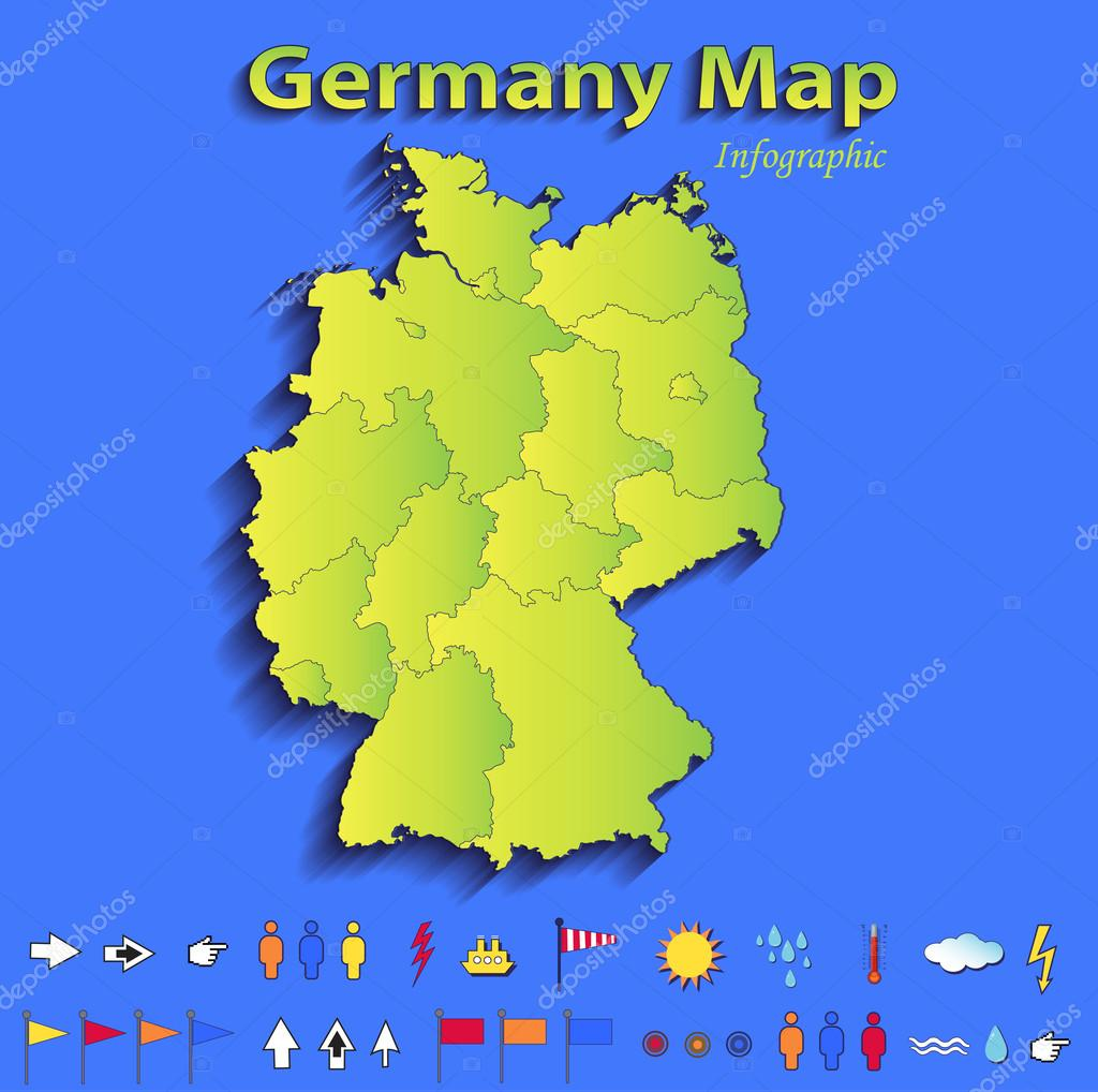 germany map infographic political map individual states blue green card paper 3d raster stock photo