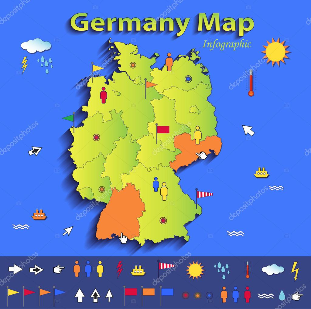 Germany map infographic political map individual states blue green germany map infographic political map individual states blue green card paper 3d vector stock vector gumiabroncs Images