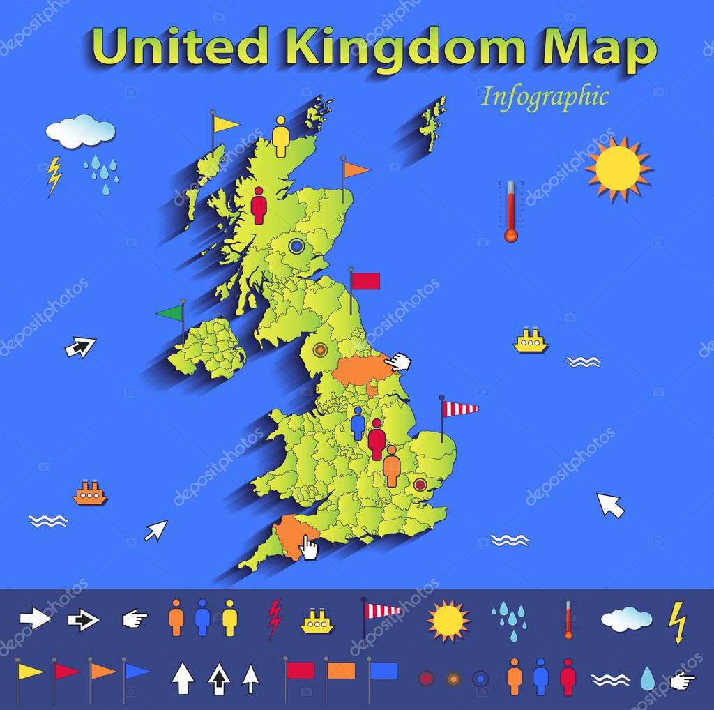 Political Map Of Great Britain.United Kingdom Great Britain England Map Infographic Political Map