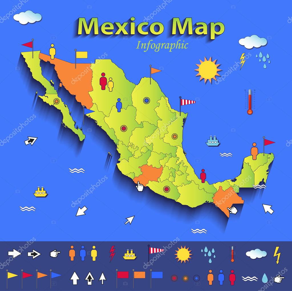 Mexico Map Infographic Political Map Individual States Blue Green - Mexico political map