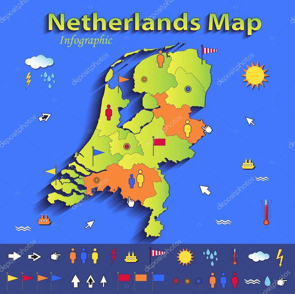 Karte Von Holland Landkarte Niederlande.Niederlande Holland Karte Infographik Politische Landkarte Blue