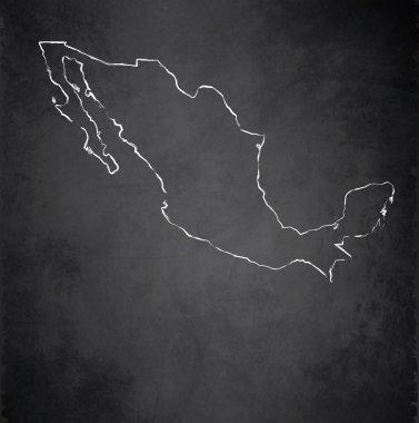 Mexico map blackboard chalkboard raster