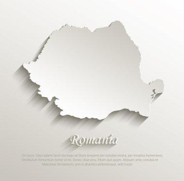 Romania map card paper 3D natural vector