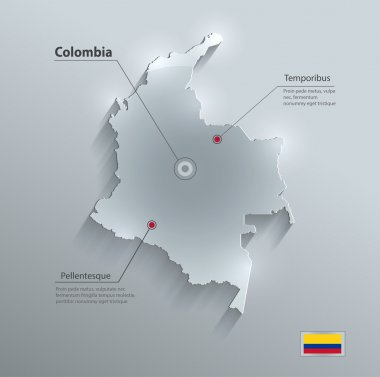 Colombia map glass card paper 3D vector