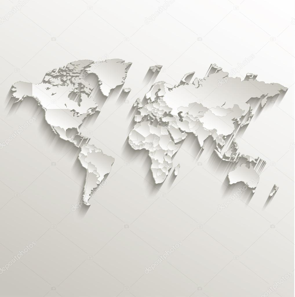 World political map card paper 3d natural raster individual states world political map card paper 3d natural raster individual states separate stock photo 49764535 gumiabroncs Images