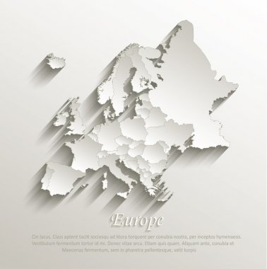 Europe political map card paper 3D natural vector individual states separate stock vector