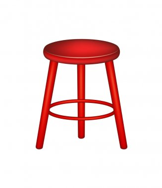 Retro stool in red design