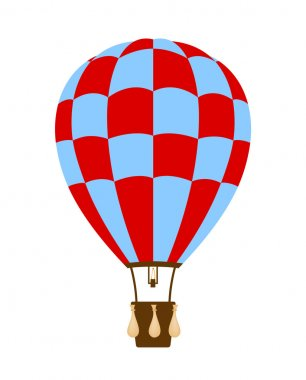 Hot air balloon in blue and red design on white background clip art vector