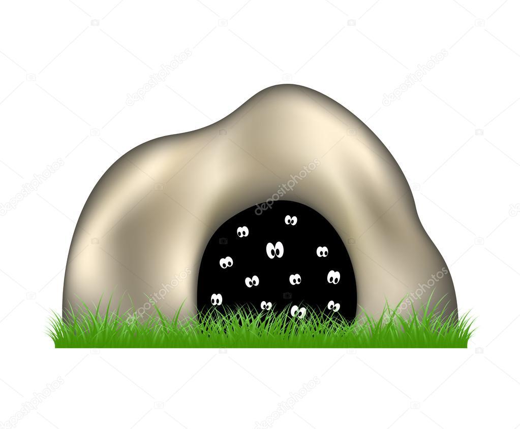 Eyes in the dark cave